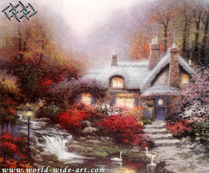Evening at Swanbrooke Cottage - Thomashire - 1991 - Thomas Kinkade