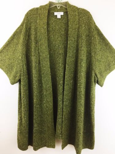 70847b3bdeb CJ-Banks-Womens-Plus-Size-4X-Sweater-Green-Short-Sleeve-Open-Cardigan