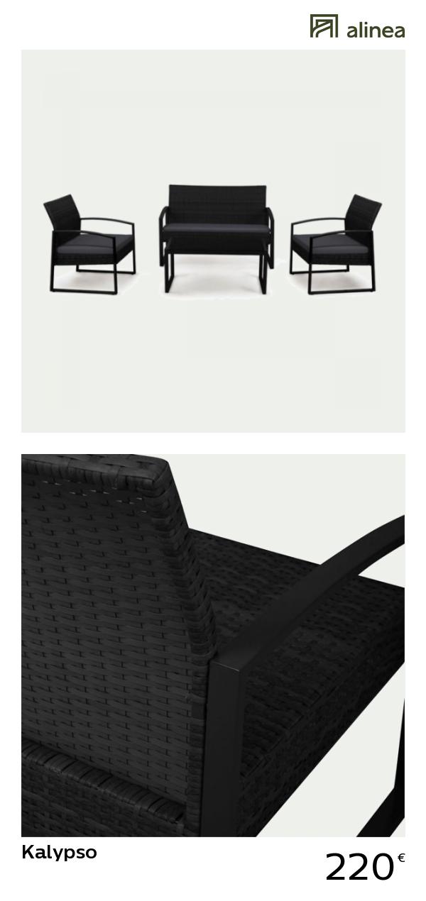 alinea : kalypso salon de jardin noir effet rotin tressé (4 places ...