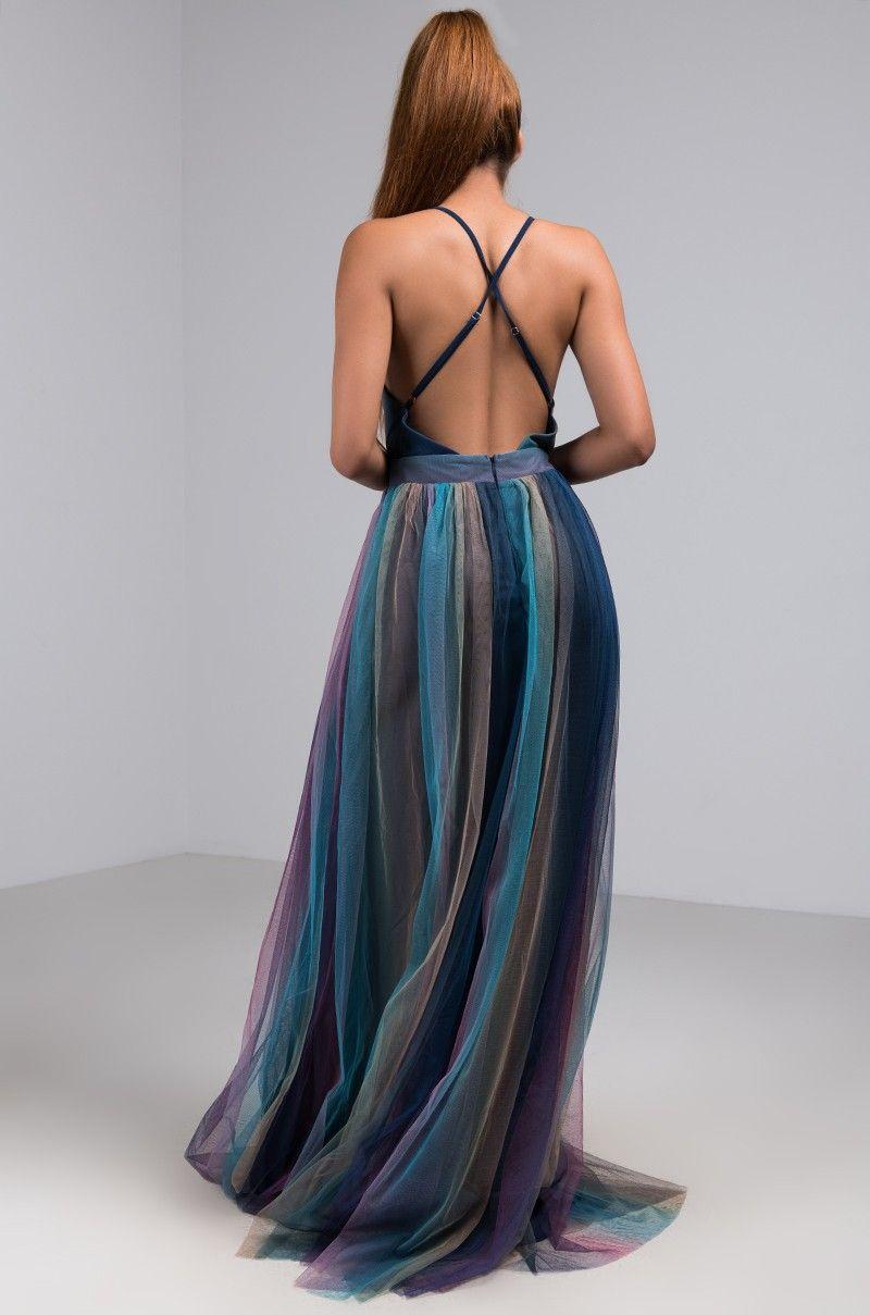 Back View Gladys Rainbow Pleated Maxi Dress In Navy Rainbow Pleated Maxi Dress Dresses Maxi Dress [ 1209 x 800 Pixel ]