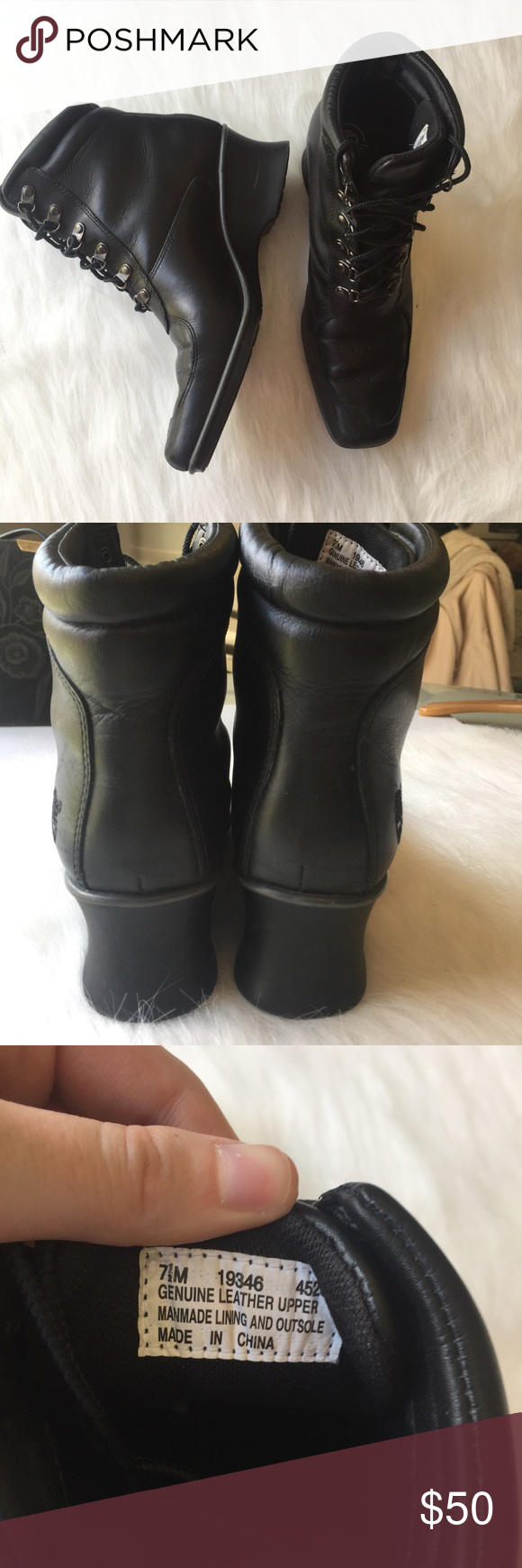 Timberland Heeled Boots Excellent used condition with little signs of wear! A very unique style of Timberlands. Perfect for weather where you need the boots, but don't want to give up style. Leather upper and rubber sole. See pictures for a better idea of condition. Bundle and save! Timberland Shoes Heeled Boots
