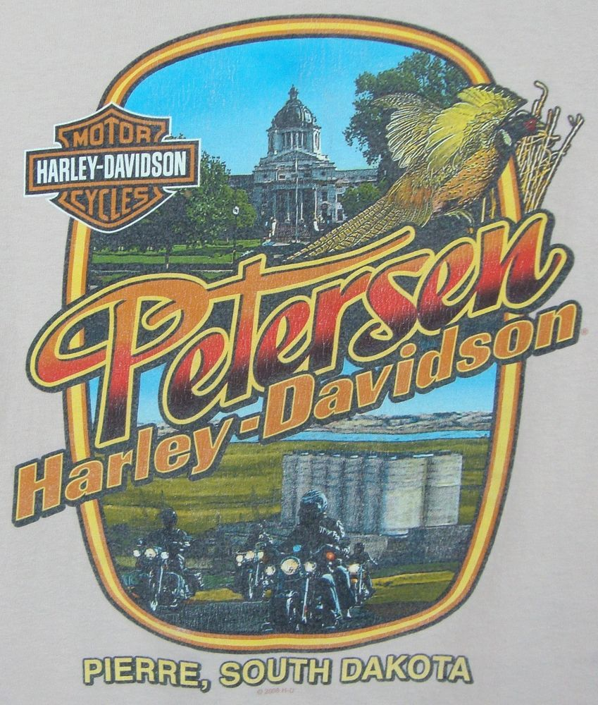 Petersons Harley Davidson T-shirt Mens Large Pierre South ...