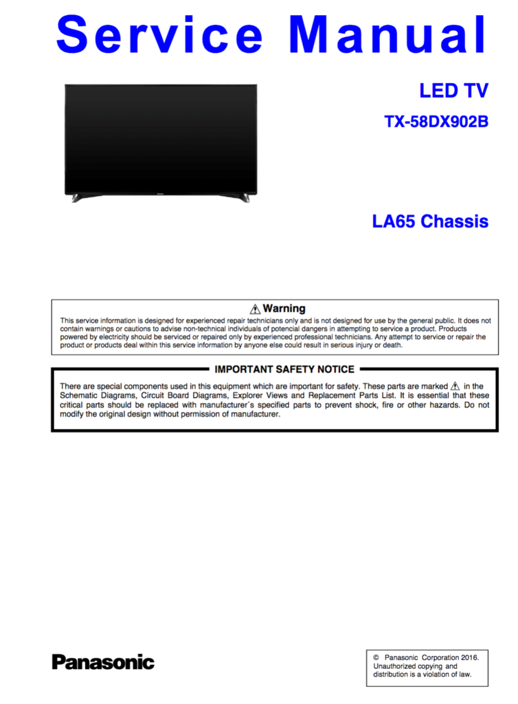 Panasonic TX-58DX902B Service Manual Complete | Panasonic