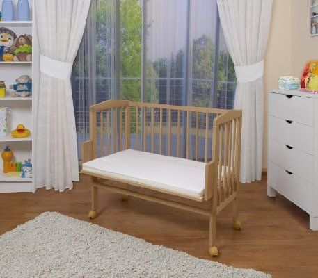 WALDIN Baby Bedside Cot Co-Sleeping height adjustable,untreated ...