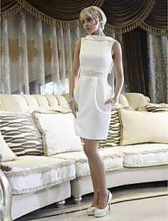 bainha / coluna jóia altura do joelho vestido de noiva de ce... – BRL R$ 324,96