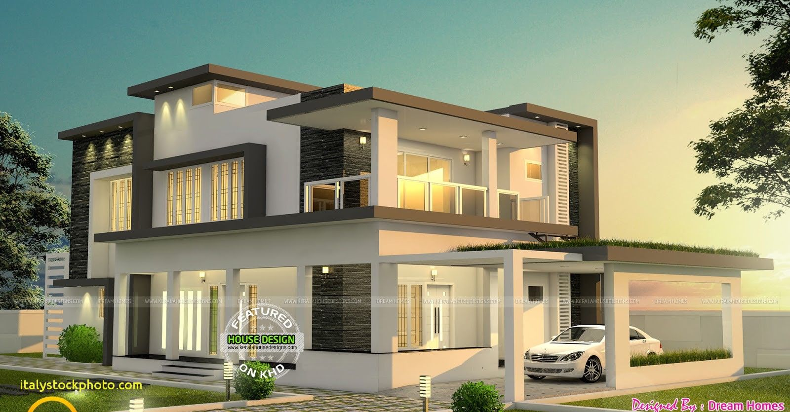 Modern Two Storey House With Rooftop Bungalow House Design Flat Roof House Minecraft Small Modern House