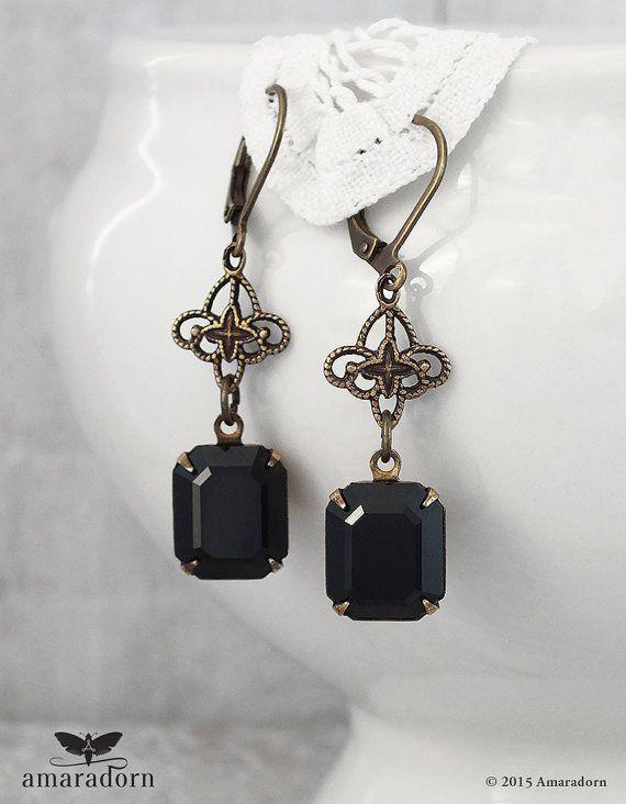 Antiqued Br Filigree And Jet Black Crystal Earrings Rhinestone Bronze Earring Vintage Style Handmade Uk