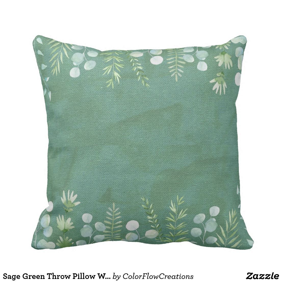 Sage Green Throw Pillow Watercolor Leaves Delicate Zazzle Com Throw Pillows Watercolor Green Throw Pillows Throw Pillows