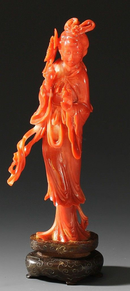 Sold Price Chinese Carved Coral Figure December 6 0113 10 00 Am Est Coral Sculpture Coral Art Coral