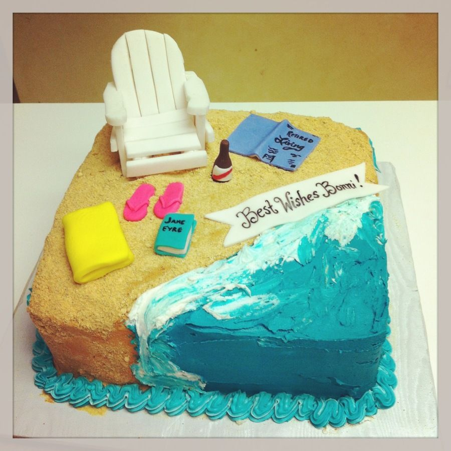Beach Themed Retirement Cake With Images Retirement Cakes