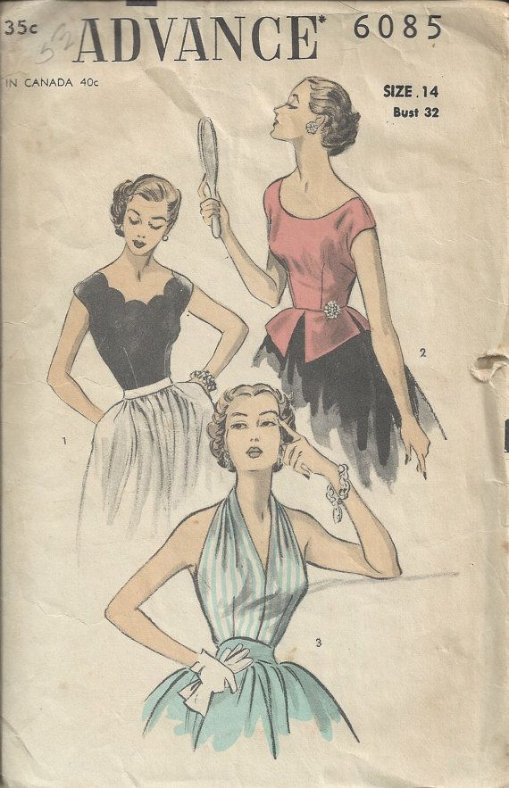 50s Advance 6085 Halter and Blouse Pattern Size by sleuthpatterns ...