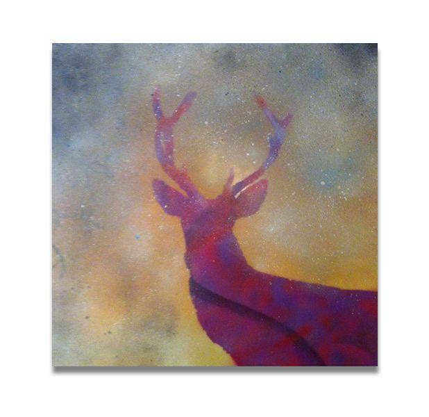 original one off multi media 36 x 36 deep edge canvas with hand