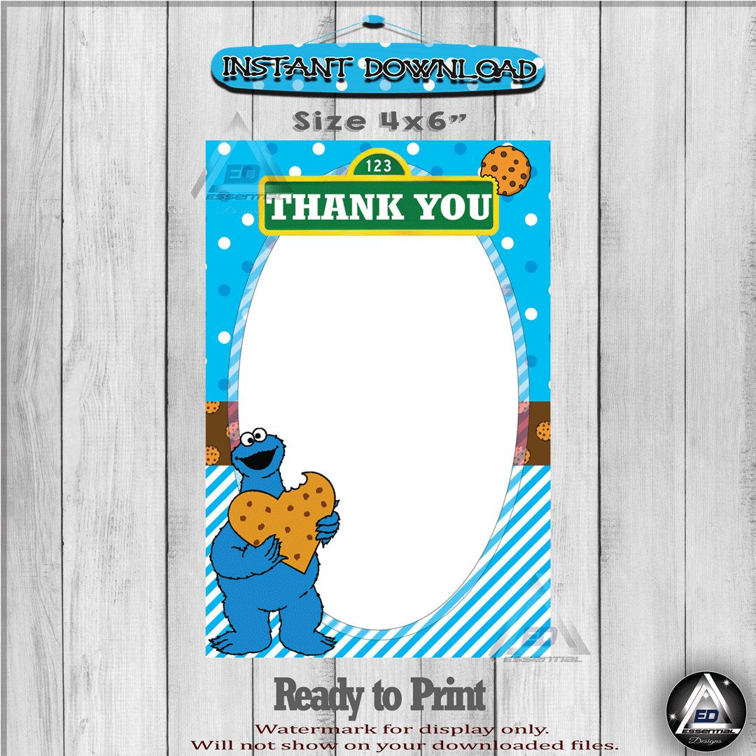 Cookie Monster Thank You Cards - Oatmeal Raisin Cookies