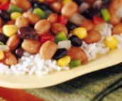 Easy vegetarian rice and beans in 15 minutes with leftover rice