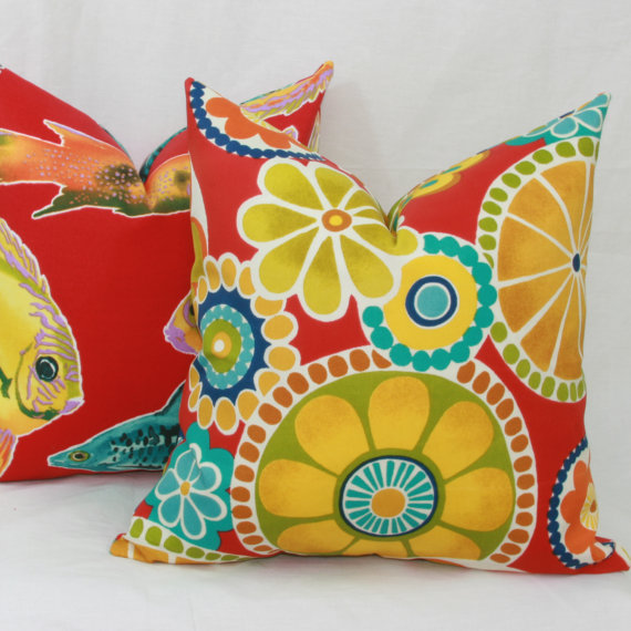 Red Yellow Turquoise Green Floral Indoor Outdoor Throw Pillow