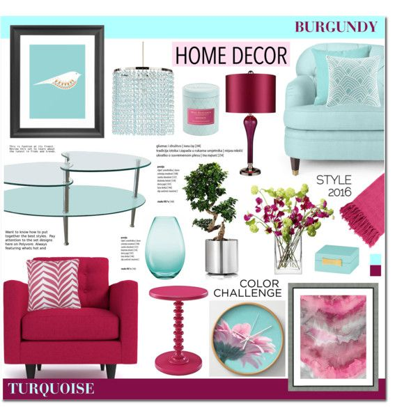 TURQUOISE U0026 BURGUNDY LIVING ROOM   HOME DECOR By Anyasdesigns On Polyvore  Featuring Interior, Interiors
