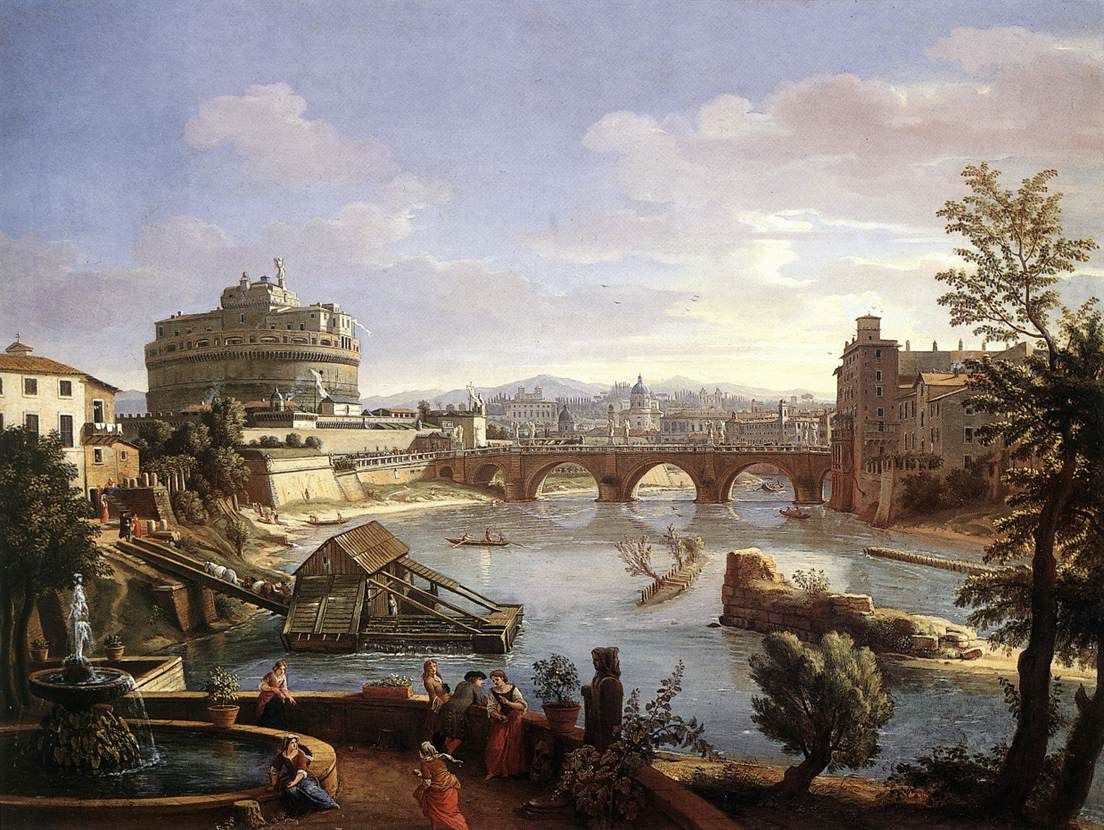 The Castel Sant'Angelo from the South by Caspar Andriaans van Wittel, 1690s