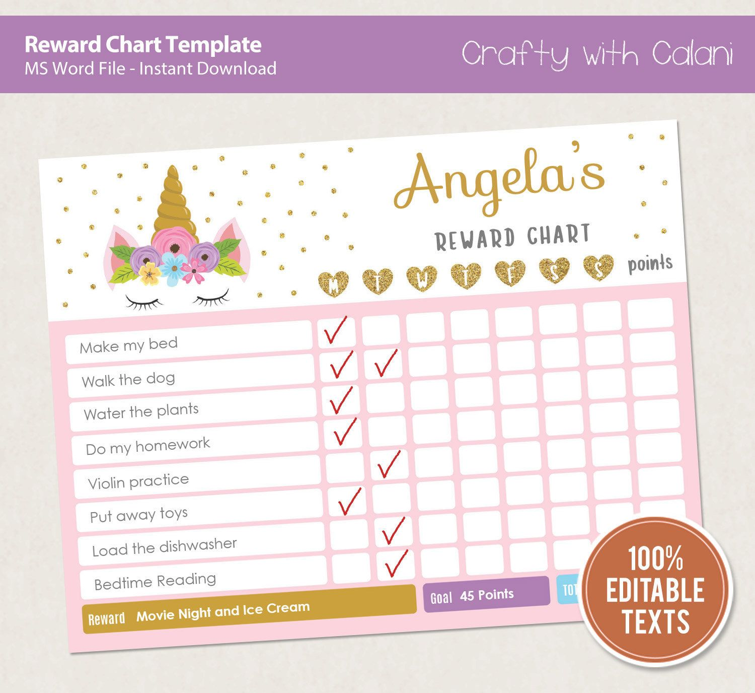 Reward Chart Template Editable Unicorn Reward Chart Chore Chart Printable Behavior Chart Kid Routi Reward Chart Template Reward Chart Printable Chore Chart