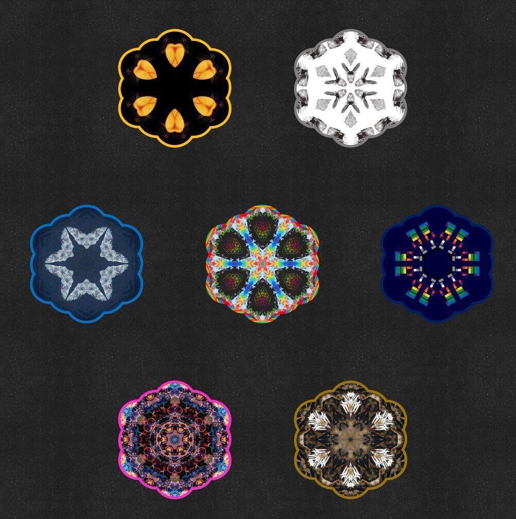 Coldplay album artworks as Kaleidoscopes [@CPGifs42]