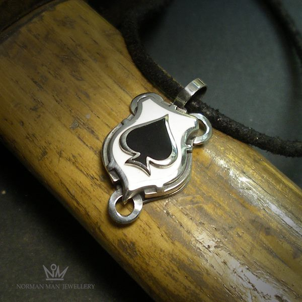 ACE OF SPADES | SILVER & ENAMEL PENDANT - product image SCHJ 	WWW.SILVERCHAMBER.CO.UK