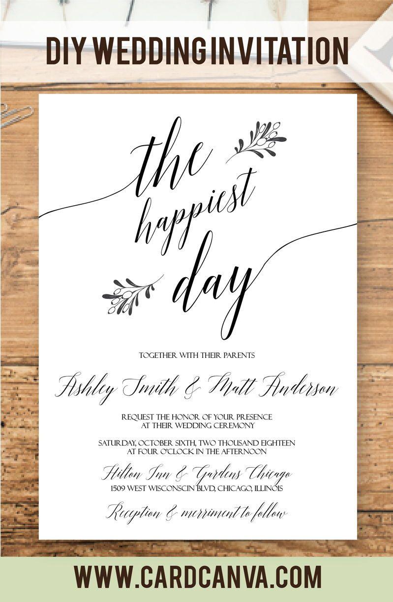 Simple Wedding Invitation, Minimalist Wedding Invitation Template ...