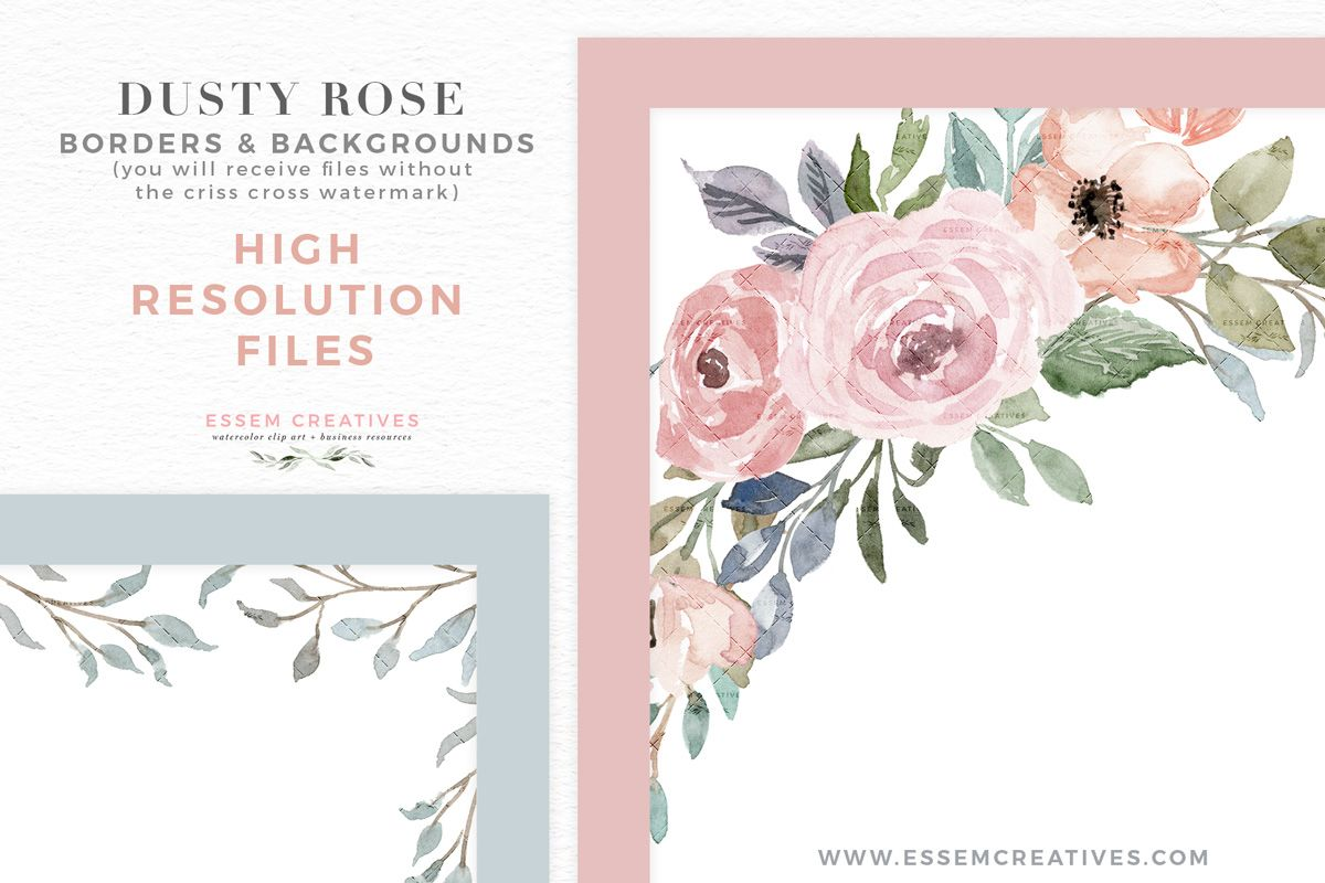 Dusty Rose Watercolor Floral Card Borders Backgrounds Png
