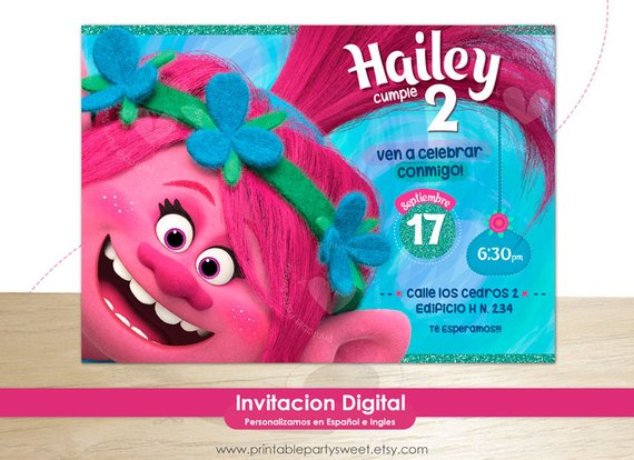 Trolls Invitation Party Girl Birthday