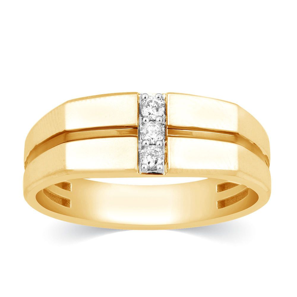 86f4fb46977c3 Mens Diamond 0.13 Carats 3 Stone 14k Yellow Gold Ring Wedding Band ...