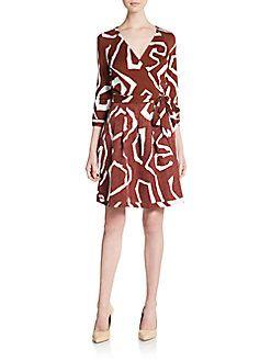 DIANE VON FURSTENBERG Printed Silk & Linen Wrap Dress. #dianevonfurstenberg #cloth #dress