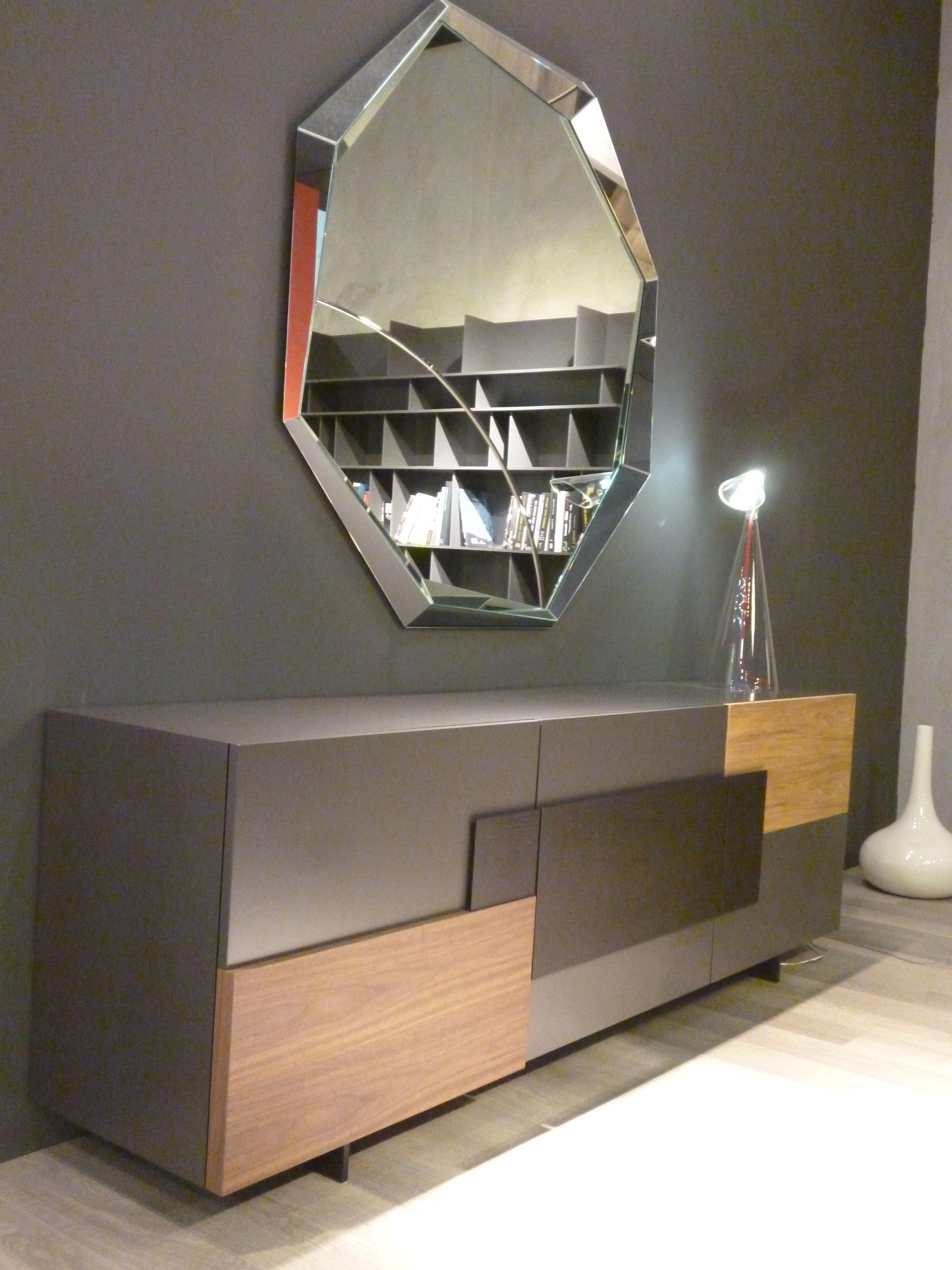 madia moderna laccata lucida con top marmo grigio - art 1645 ... - Credenza Moderna Due Cassetti Horizon Cattelan