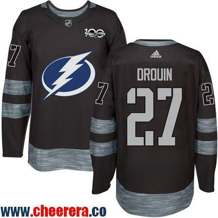 Men's Tampa Bay Lightning #27 Jonathan Drouin Black 100th Anniversary  Stitched NHL 2017 adidas Hockey