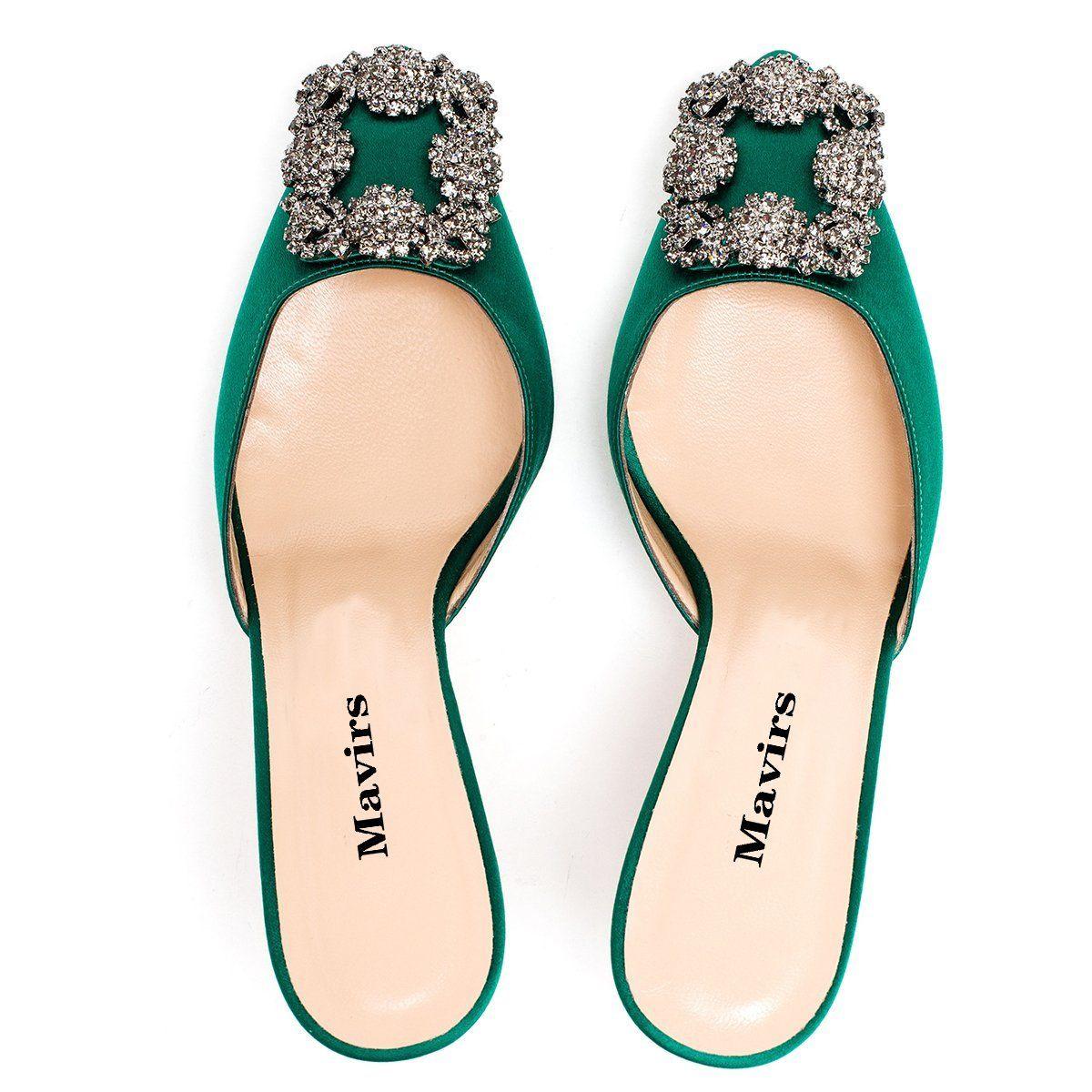 Amazon Com Mavirs Women S Satin Pointy Toe Slide Sandals