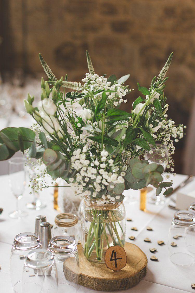 Pot Bloemen Middelpunt Tafel Log Groen Gebladerte Rustiek Outdoor Zomer Bruiloft …