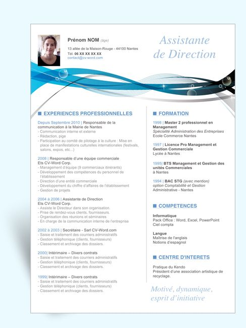exemple cv assistant de direction  u00e0 imprimer