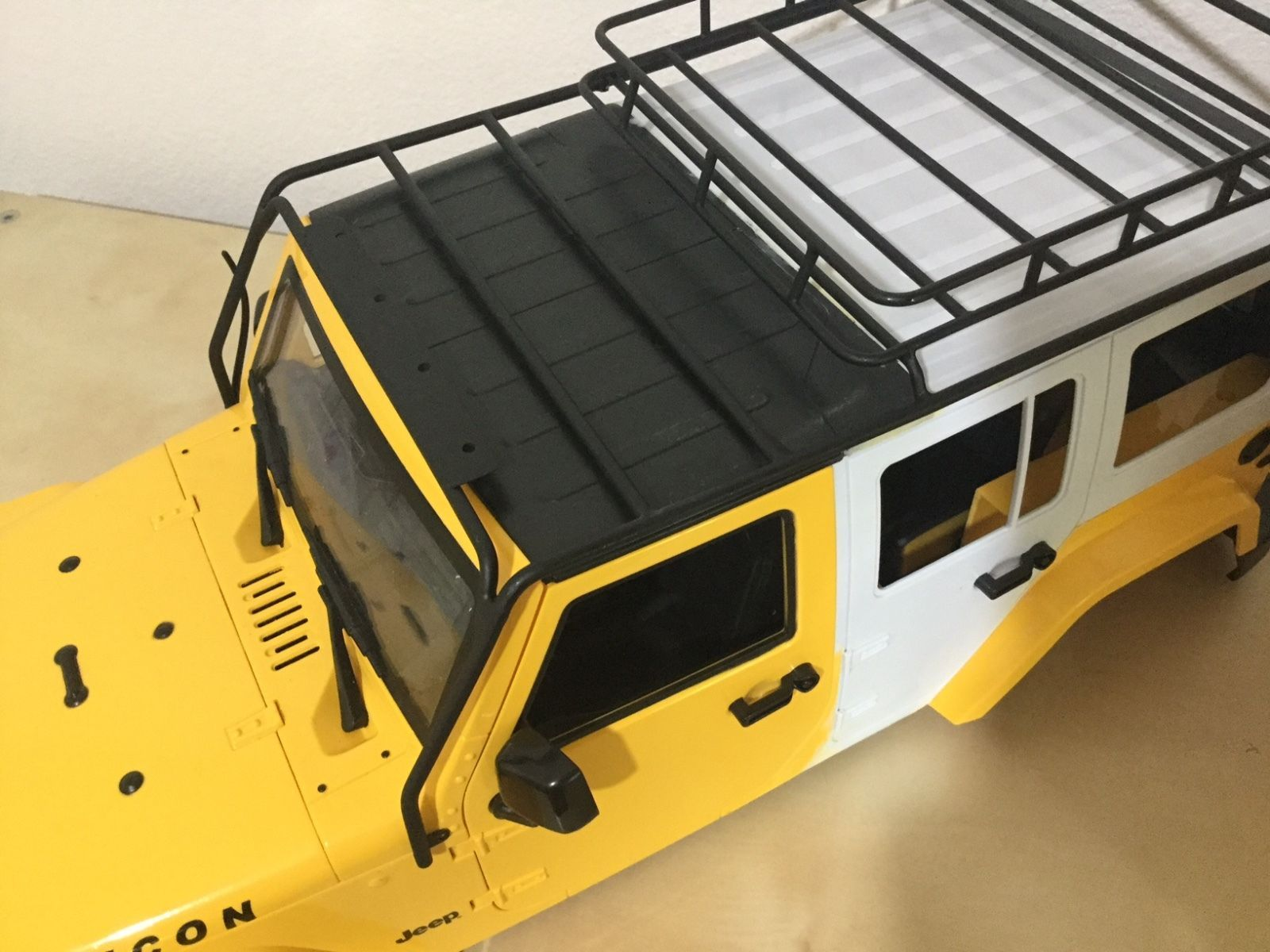 1 10 Scale Jeep Wrangler Rubicon 5 Doors 313 Mm Hand Made W Metal Roof Rack Ebay Roof Rack Jeep Wrangler Rubicon Metal Roof