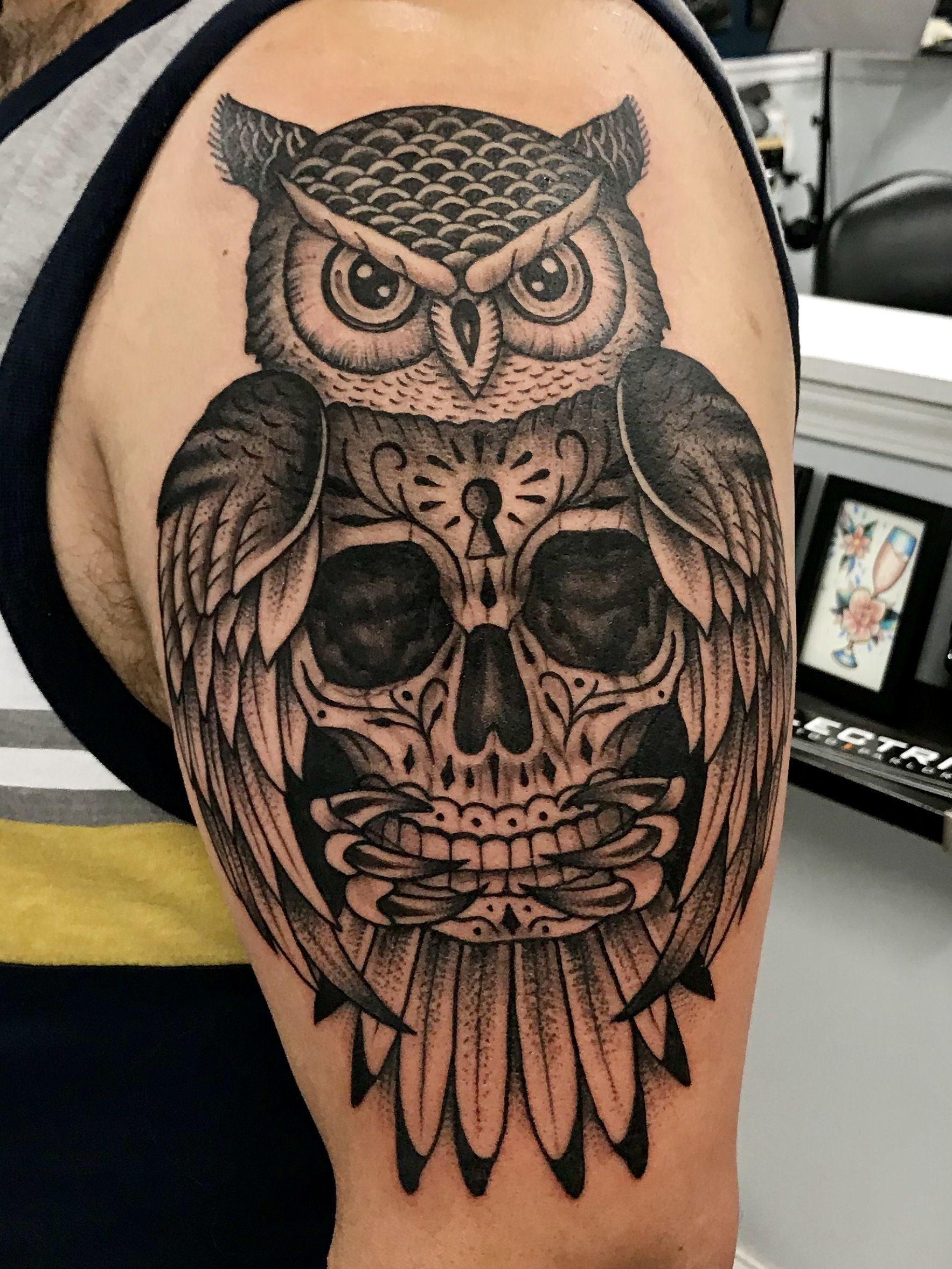 Upper Arm Tattoo Tattoos Upper Arm Tattoos Sugar Skull Owl