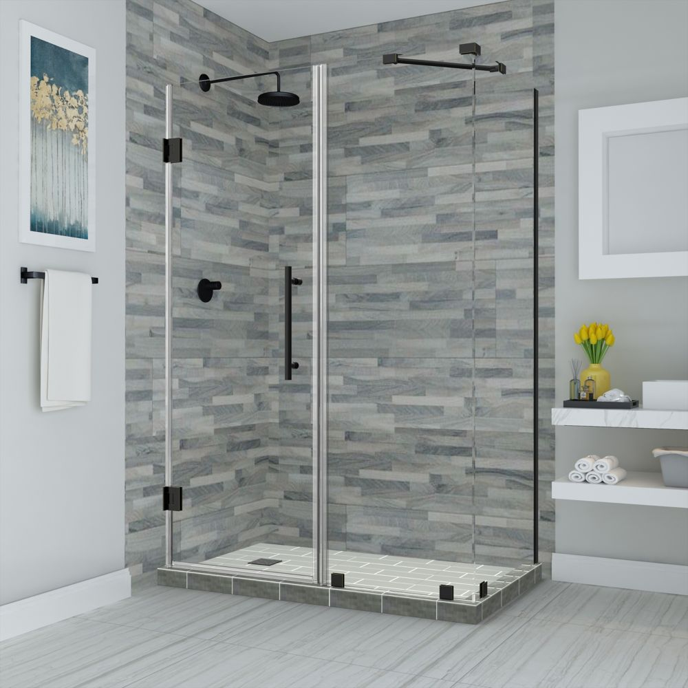 Bromley 40 25 41 25 Inch X 36 375 Inch X 72 Inch Frameless Corner Hinged Shower Enclosure Matte Black Frameless Shower Enclosures Shower Enclosure Frameless Shower