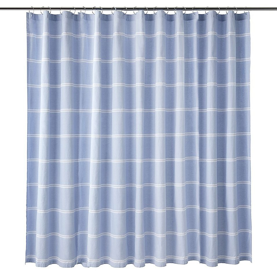Calvin Klein Eileen Shower Curtain In Blue White In 2020 Blue White Shower Curtain Blue Shower Curtains Shower Curtain