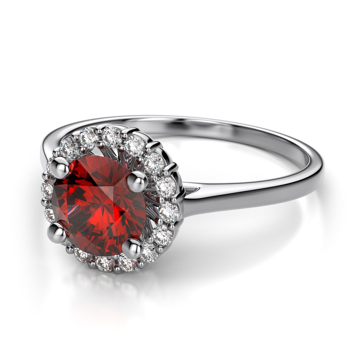 Halo Sphere Lab Created Ruby and Diamond Ring in 14k White