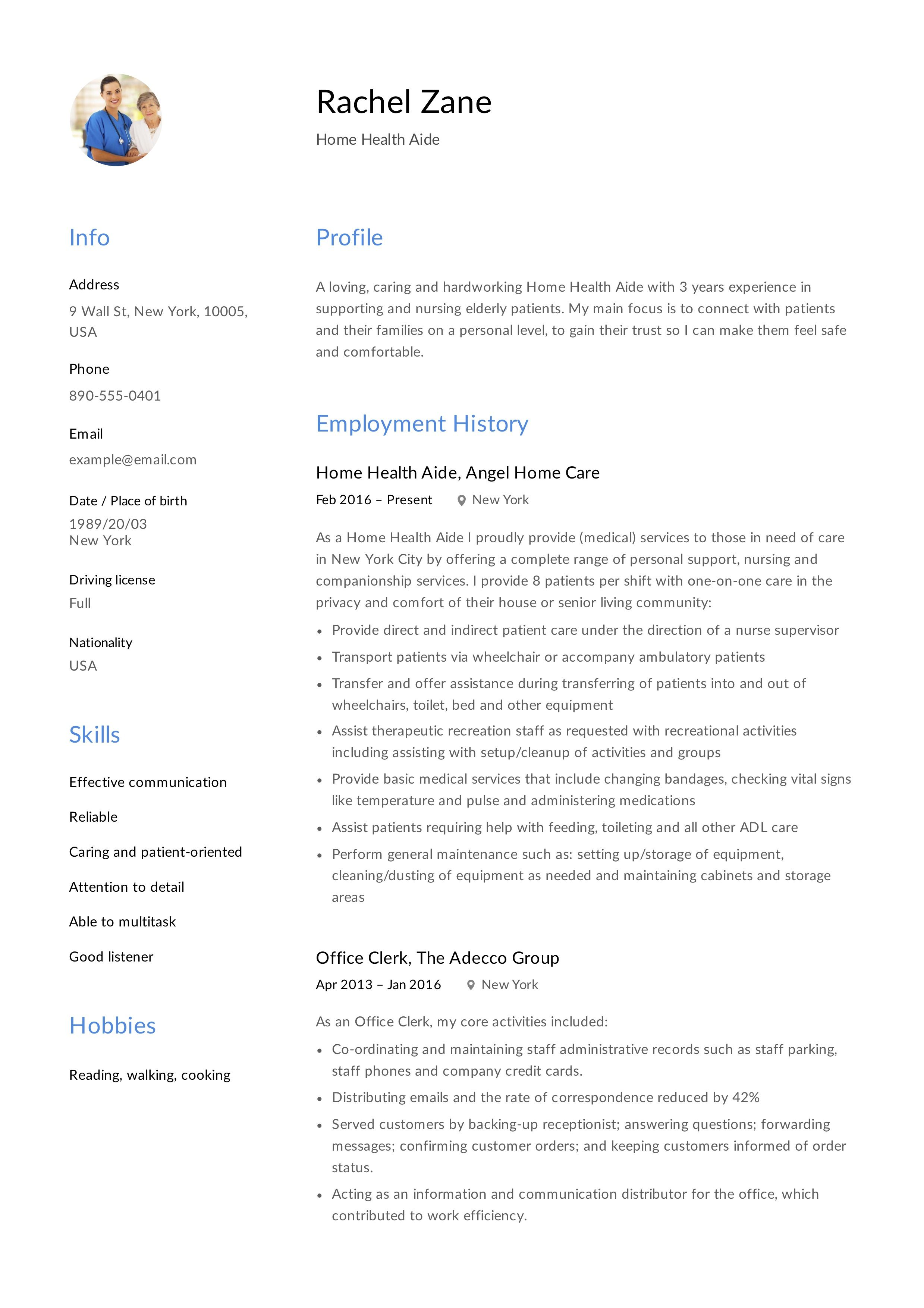 Home health aide resume sample writing guide in 2020