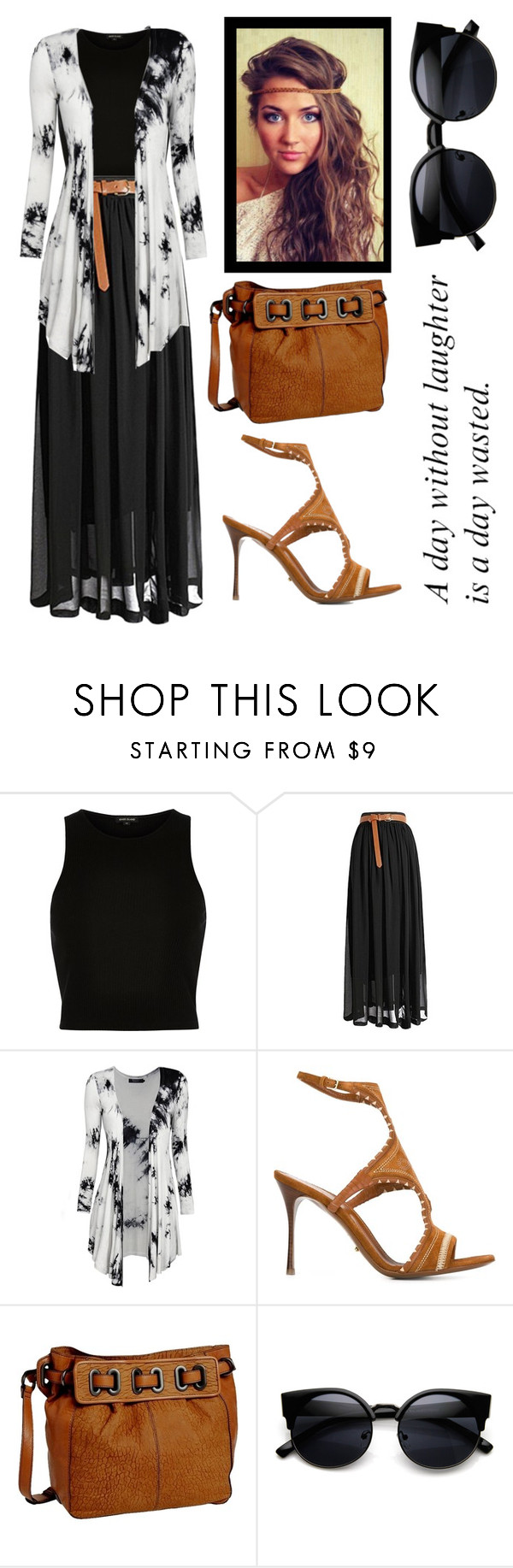 """""""Boho black"""" by pentecostal-eden ❤ liked on Polyvore featuring River Island, Sergio Rossi, Kooba, women's clothing, women, female, woman, misses and juniors"""