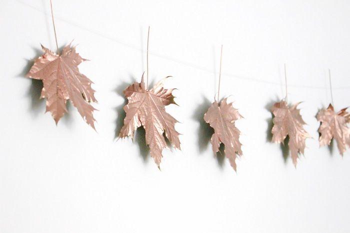 Girlande aus Blättern basteln