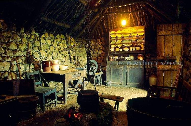 Interior Of The Black House Traditional Croft At The Museum At Colbost Near Dunvegan Isle Of Skye Scotland Uk Scottish Croft Black House Ireland Cottage