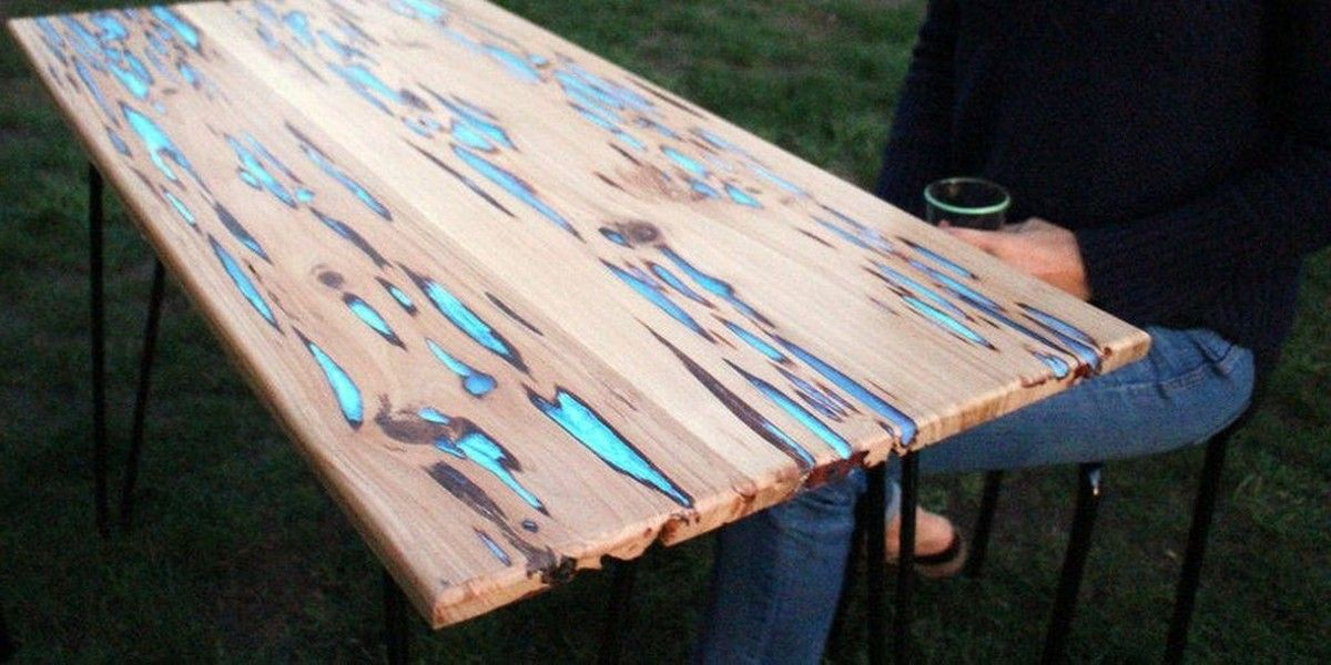 this is how to make a stunning glow in the dark wood table higher perspective for the home. Black Bedroom Furniture Sets. Home Design Ideas