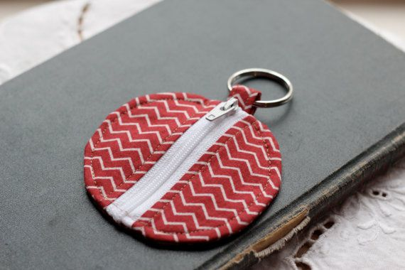 Earbud case with red wine and white chevron print on Etsy, $7.00