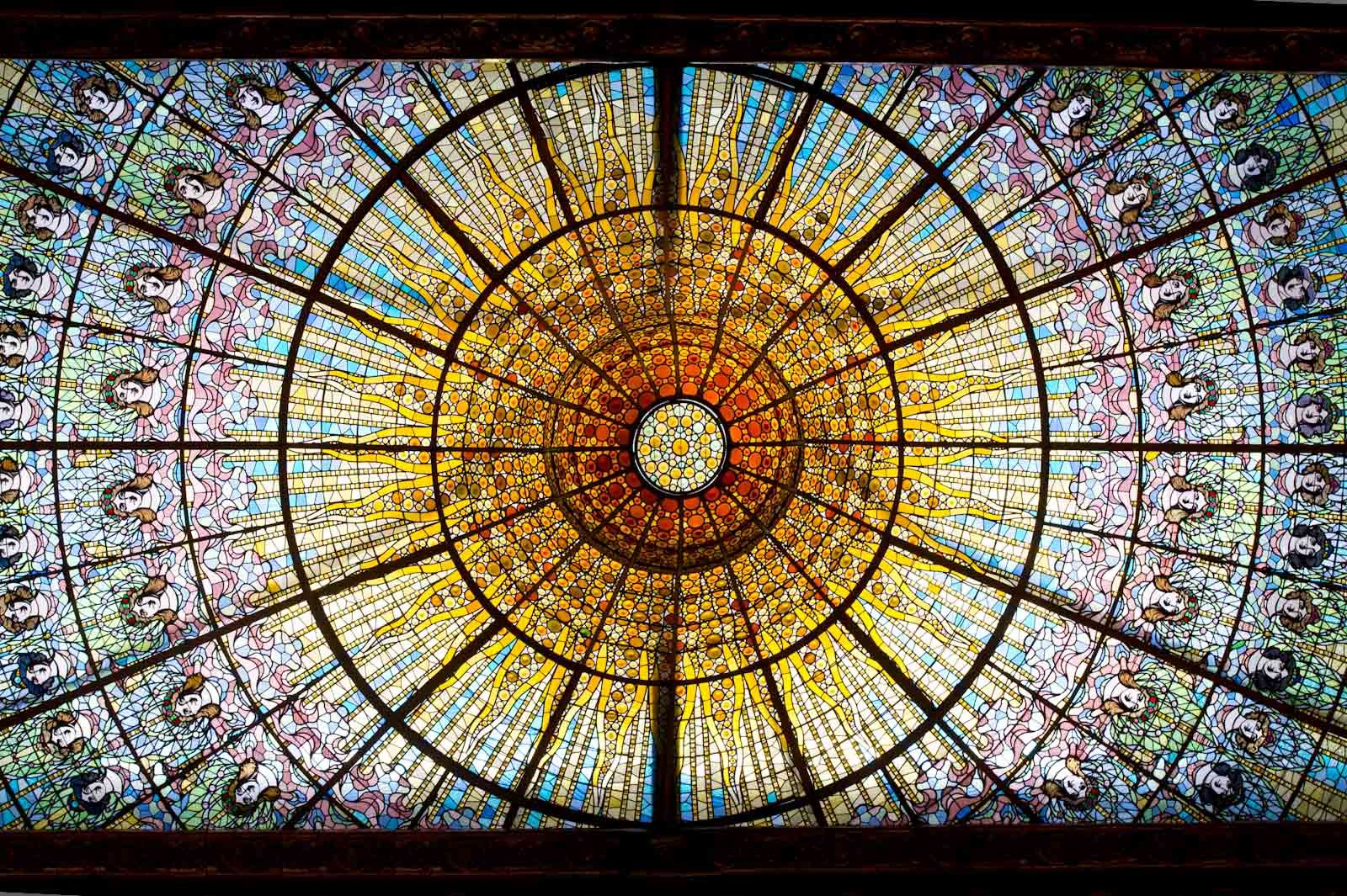 The stained glass roof at the Palau de la Música Catalana, photograph by Sandy Macdonald.