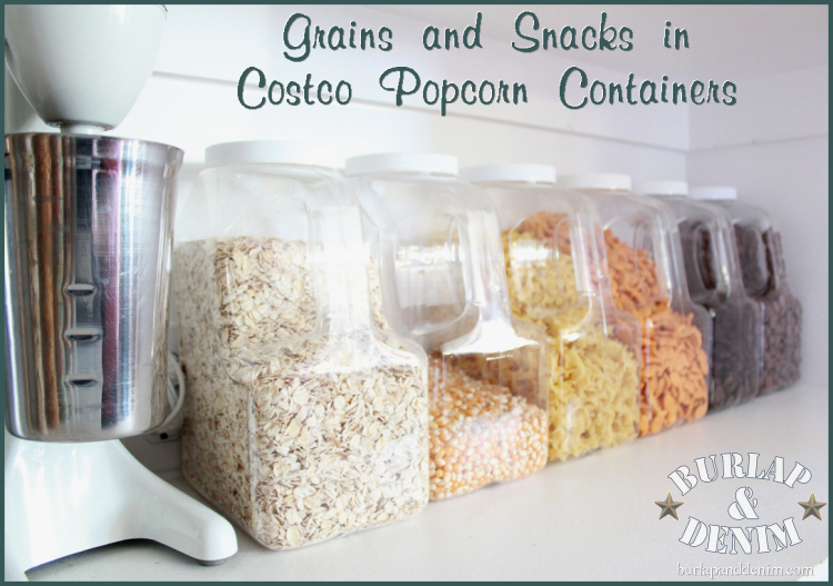 Organized Pantry Storage Grains And Snacks In Costco Popcorn Containers I 39 M Doing Something