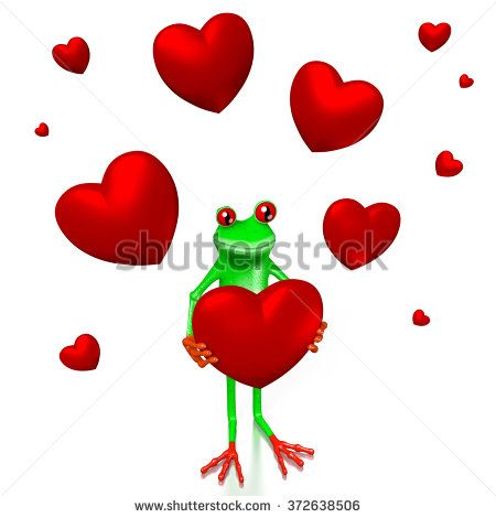 3D cartoon frog and hearts - great for topics like Valentine's Day, love, dating etc.