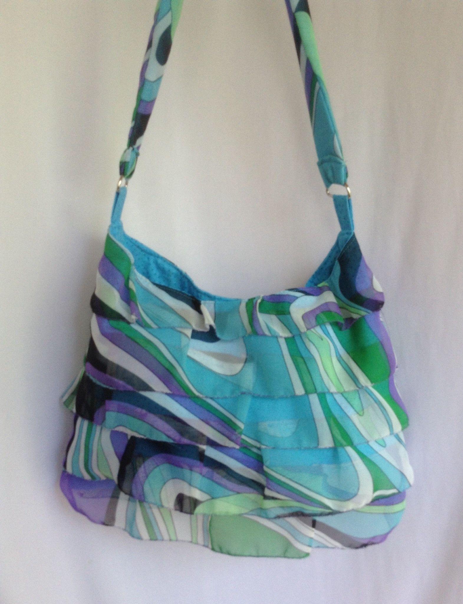 Blue Groovy Ruffle Hobo Bag