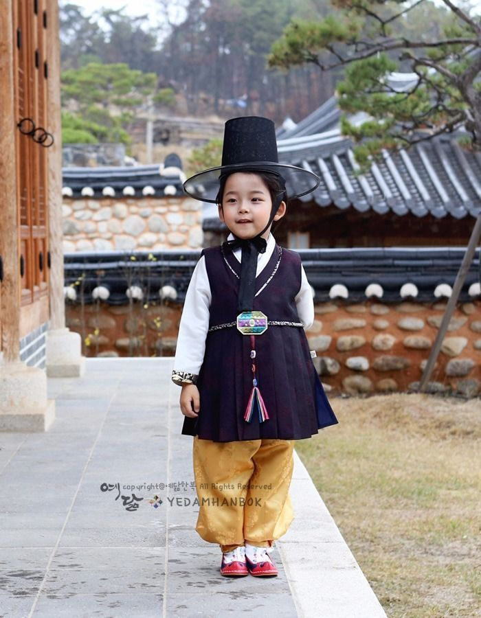 b6853c391 Hanbok Boy Dress Korean traditional Korea Baby 1st birthday Party Black  Yellow…